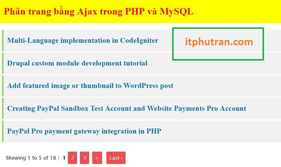 Hướng dẫn phân trang bằng ajax trong PHP